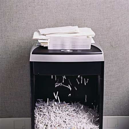 Shredding Paper In Shredder