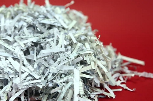 Shredded Paper Pan On Red Background