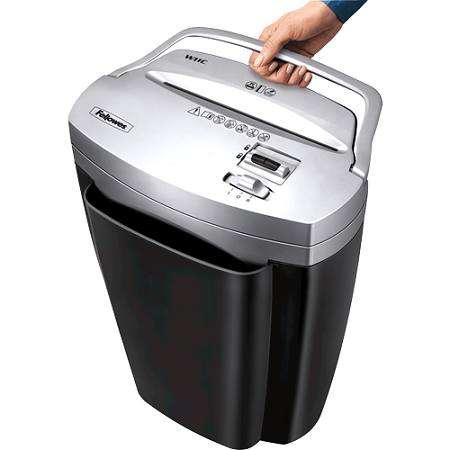Holding Fellowes Powershred W11C Paper Shredder
